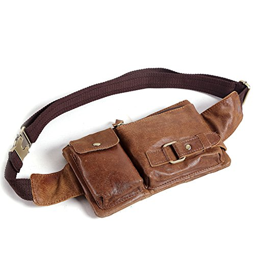 Teemzone® Unisex Retro Leather Waist Backpack Phone Holder Fanny ...
