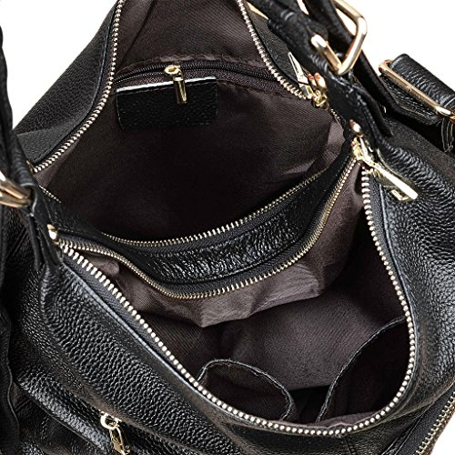 Yahoho Women S Top Grain Genuine Leather Shoulder Bag Soft Hobo Convertible Backpack Black