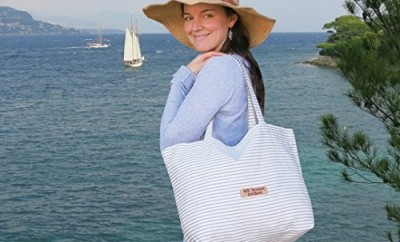 Cream and Blue Fish Print Lightweight Tote Beach Holiday Bag Lucy ...