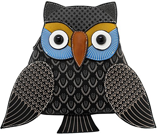 Kukubird Animal Owl Shape Faux Leather Handbag Black