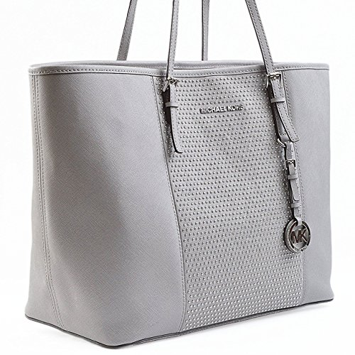 black and gray michael kors bag ya6d  michael kors jet set travel tote pearl gray