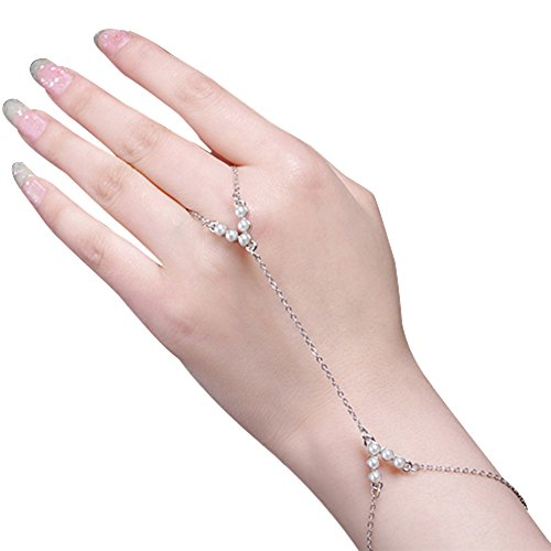 Women Elegant Imitation Pearls Chain Link Bracelet Bangle
