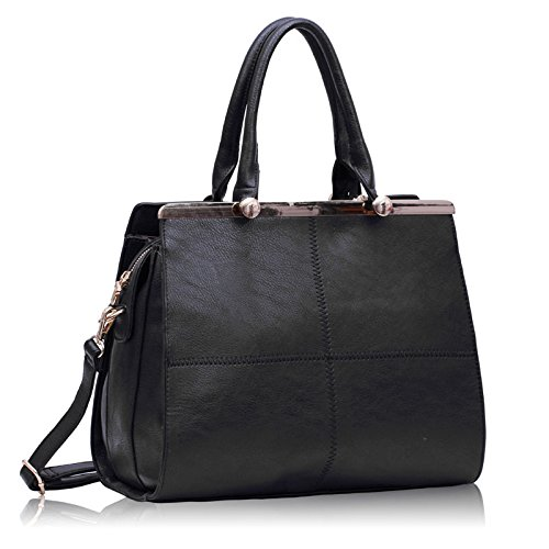 Womens Black Metal Frame Satchel Handbag Doctors Bag Style ...