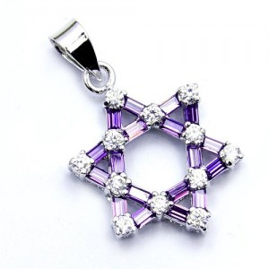 Jewish-Star-of-David-Sterling-Silver-Purple-CZ-Pendant-0