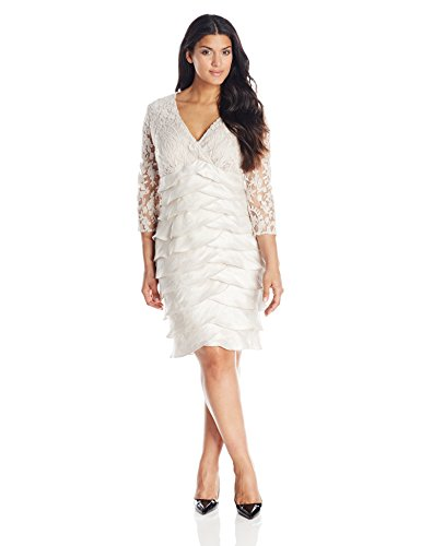 Adrianna Papell Womens Plus Size Shimmer Shutter Lace Dress Powder