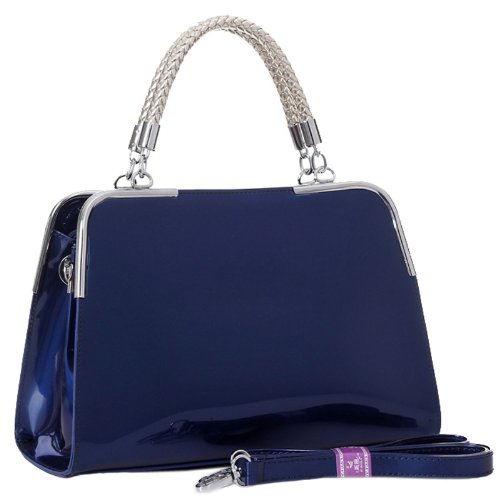 MG Collection Matana Patent Doctor Shoulder Bag, Navy Blue, One ...